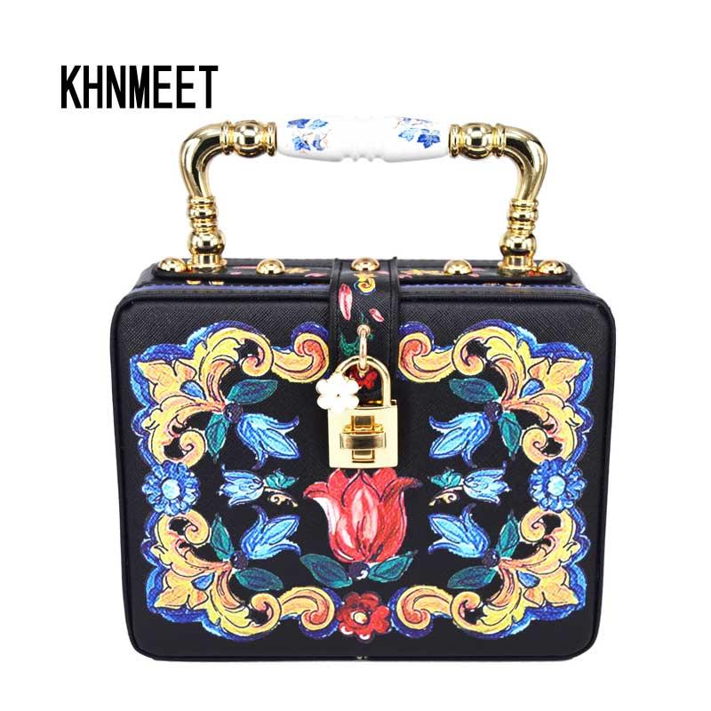 Fashion Box Evening Bag Oil painting Flower Black lock Clutch Bag strap Mini Tote Bag Ladies Purse trunk White Women Handbags  <br>