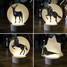 Nordic wind creative 3d night light ins lamp modeling lamp cute animal modeling pony swallow penguin wolf elk  Bear for gift