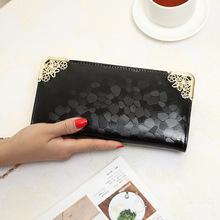 MINI LONG clutch wallet fashion silver patent leather stone pattern PU Leather purse money Bag Coins Holder elegant