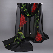 Peacesky Brand 1pc New arrival Fashion Black and red Rose Flowers Print Chiffon Scarf for women ,Wholesale