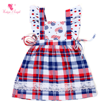 Kaiya Angel Girls Dress 2017 New 4th Of July Baby Girl Dresses Children Clothing Royal Blue Red White Plaid Dress Kids Clothes