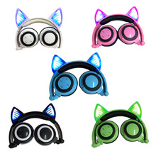 Cosplay Cat Ear Bluetooth Headphones Wireless Stereo Headsets earbuds with Mic for iPhone Samsung Universal 3.5mm AUX