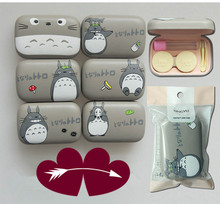 LIUSVENTINA cute cartoon Totoro cat leather box 8 types contact lens case lenses container