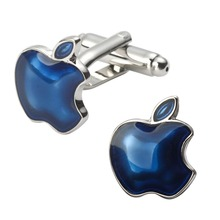 Man fine jewelry fruit sign blue apple cufflinks French fashion shirt sleeve cuff links(China)