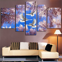 2017  Canvas 5 Panels  Art Wall Modular Painting Landscape Cherry Trees Dove Modern Pictures Printed Home Decor Unframed