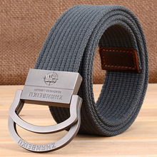 Unisex Mens Canvas Cloth Belts Web Belt Black Braided Waist Belt For Jeans double buckles belts