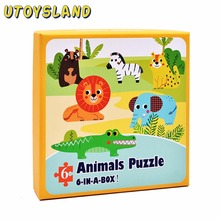 UTOYSLAND 6pcs/box Extra Large Cartoon Jigsaw Puzzle Development Educational Toys for Children Girls Kids Toys New Year Gift(China)