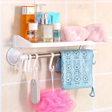 1 Pc Creative with Hooks Strong Suction Cups Racks / Bathroom Supplies Hooks Bathroom Towel Rack Sucker Shelves Product(China)