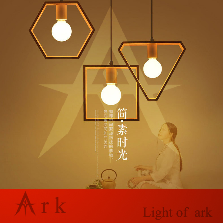 geometrical shape solid wood led Pendant Lights bedroom Art coffee restaurant Creative dining room lamp <br>