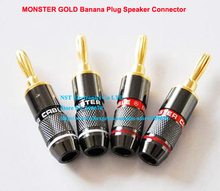 Free shipping/2PAIRS(4PCS)/High Quality Monster Gold-Plated Banana Plug Speaker Connector Adapter Connector  New