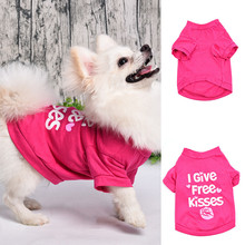 2017 Doggie T Shirt Dog Pet Clothes Print I Give Free Kisses Pet Spring Summer Casual Cat Shirts Vest pet clothing XS-L(China)