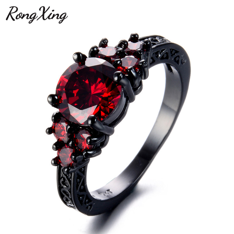 14KT Black  Gold Filled Green Sapphire Birthstone Engagement Wedding Ring Set
