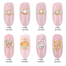 10pcs  Opal stone tiara nail stones for nails pearl decoration gold ring nail art 3d metal supplies Y188~195