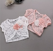 Free shipping 5pcs/lot new summer jacket kid's lace coat ,girl flower capelet ,children lace Shawl clothes