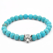 10pcsWholesale Premier Jewelry metal Animal leopard Charm blue Beads Fashion New Design simple style bracelet for men(China)