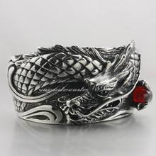 Heavy 316L Stainless Steel CZ Dragon Ball Dragon Bangle Mens Biker Rocker Punk Style 5J004