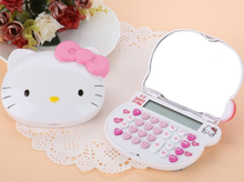 1Pcs/set Mini Kawaii Pink Hello Kitty Calculator LCD Electronics Mirror Girls Gifts