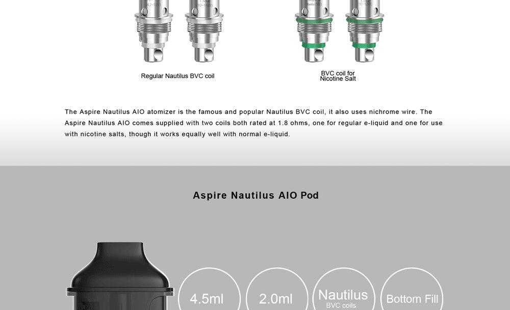 In stock!! Aspire Nautilus AIO kit newest aspire pod system kit with 1000mAh battery 4.5ml capacity pod vape kit vs breeze 2 kit 6