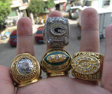Free Shipping 1965 1967 1996 2010 GREEN BAY PACKERS SUPER BOWL CHAMPIONSHIP RING 4 Together Football ring high quality fan gift(China)