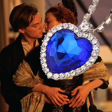 Classic Romantic Titanic Blue Crystal Ocean Hearts  Pendant Crystal Necklace for Fashion Women Wedding Party Jewelry Gifts