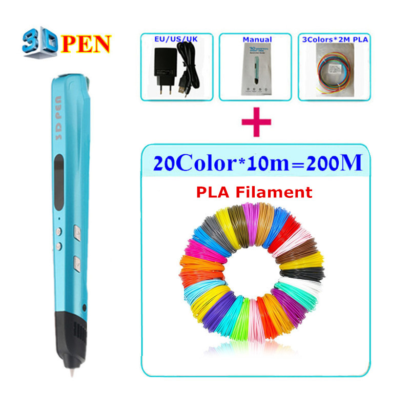 Sixth Generation 3D Painting Pen With Free PLA Filament 3D Printing Pens For Kids Birthday Present Can Add 200 Meter PLA<br>