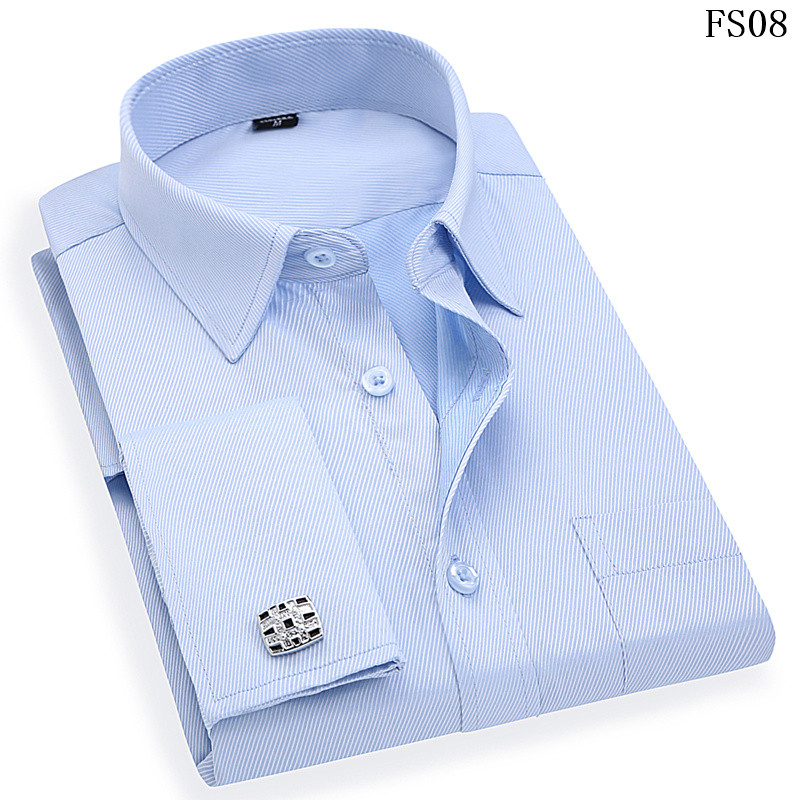 Men French Cufflinks Shirt 19 New Men's Stripes Shirt Long Sleeve Casual Male Brand Shirts Slim Fit French Cuff Dress Shirts 6