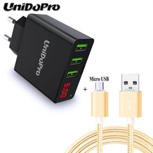 3Port USB 2.4A Max EU Plug AC Charger for Ulefone S7, Metal Lite, U007 U800 Pro, Paris Lite, Be Pure Micro USB Charging Cable(China)