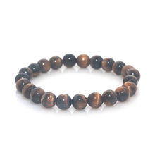 8mm Tiger Eye Flash Stone Red Coral Bracelet Elastic Cord Natural Stone Bead Bracelet(China)