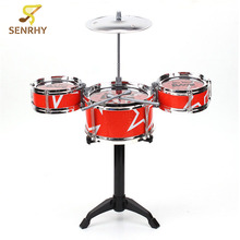 New Arrival Red Blue Kids Toys Drum Kit Set of Toy Music Hand Knocking Percussion Instruments Kid Jazz Beating Drum Hot Sale(China)