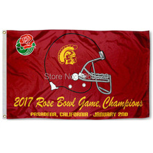 USC Trojans 2017 Rose Bowl Champions Outdoor Banner College NCAA Flag 3X5 Custom Football Hockey Any Flag