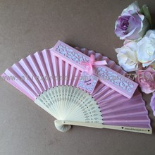 Free shipping 50pcs/lot Personalized bride & groom's name White Beige Pink Wedding Silk Hand Fans with Exquisite Paper Gift Box