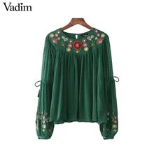 Vadim women floral embroidery chiffon shirts bow tie sleeve O neck vintage pleated blouse ladies casual tops blusas LT2157