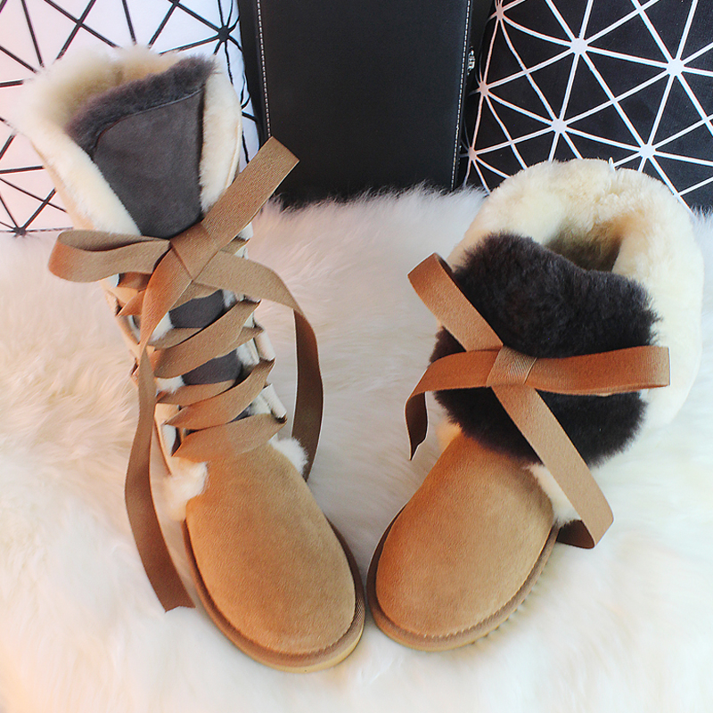 BLIVTIAE Australia/Luxury Winter Knee High Sheepskin Snow Boots Natural Wool Sheep Fur Boots Sweet Straps Bow  Women Long Boots<br><br>Aliexpress