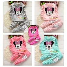 2017 Rushed Promotion Coat Character Regular Full Vestidos Kids Sport Wear Garment Fashion Minnie Baby Clothing Set Suit Clothes