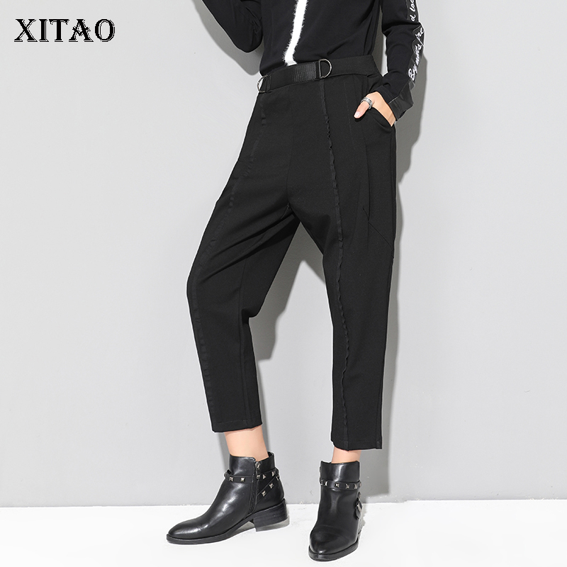 [XITAO] New Arrival Women 2019 Autumn Europe Elastic Waist Harem Pants Female Solid Color Casual Ankle-length Pants LJT3927