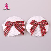 QueenMaker 2014 Scottish plaid bow chest paste round white sequined tassels lovely Christmas flash reusable nipple covers(China)