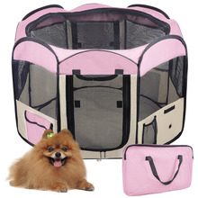 "Pet Playpen Puppy Dog Fence Kennel Exercise Crate Foldable Folding Pen Cat  45""  Dog Pet Foldable pink"
