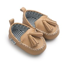 Baby PU Tassel pendant Leather Baby Moccasins Newborn printing Princess Baby Non-slip learning shoes(China)
