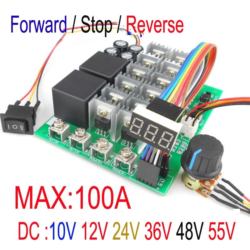 Digital display Percentage of speed 5500W High Power 100A DC Motor Controller 12V24V36V48V55V Motor Drive pwm bldc  motor <br>