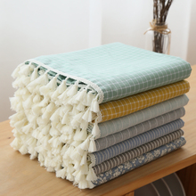Free shipping Modern minimalist Cotton Tablecloths Rectangular stripe Table cloth Home Cover cloth Tassel Tablecloth Cover towel