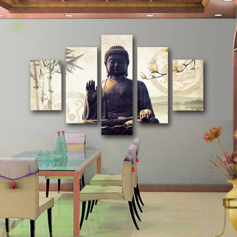 Artryst 5 Piece Canvas Art Modern Printed Buddha Painting Picture Buddha Paintings Wall Canvas For Living Room Picture Print(China)