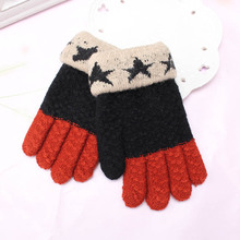 C Children Warm Stretchy Thickened Knitted Winter Mittens Gloves Kids Star Elastic Covered Finger Halter Glove Girl Casual Luvas(China)