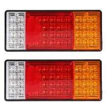 2pcs HM-022 Car Rear Lamps Truck Boat Trailer Plastic Taillight 44 LED 12V Waterproof Car Truck Tail Light Warning Lights ME3L(China)