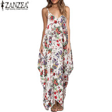 Buy ZANZEA 2018 Summer Maxi Long Dress Women Halter Neck Vintage Floral Print Sleeveless Boho Dress Sexy Beach Dress Vestidos