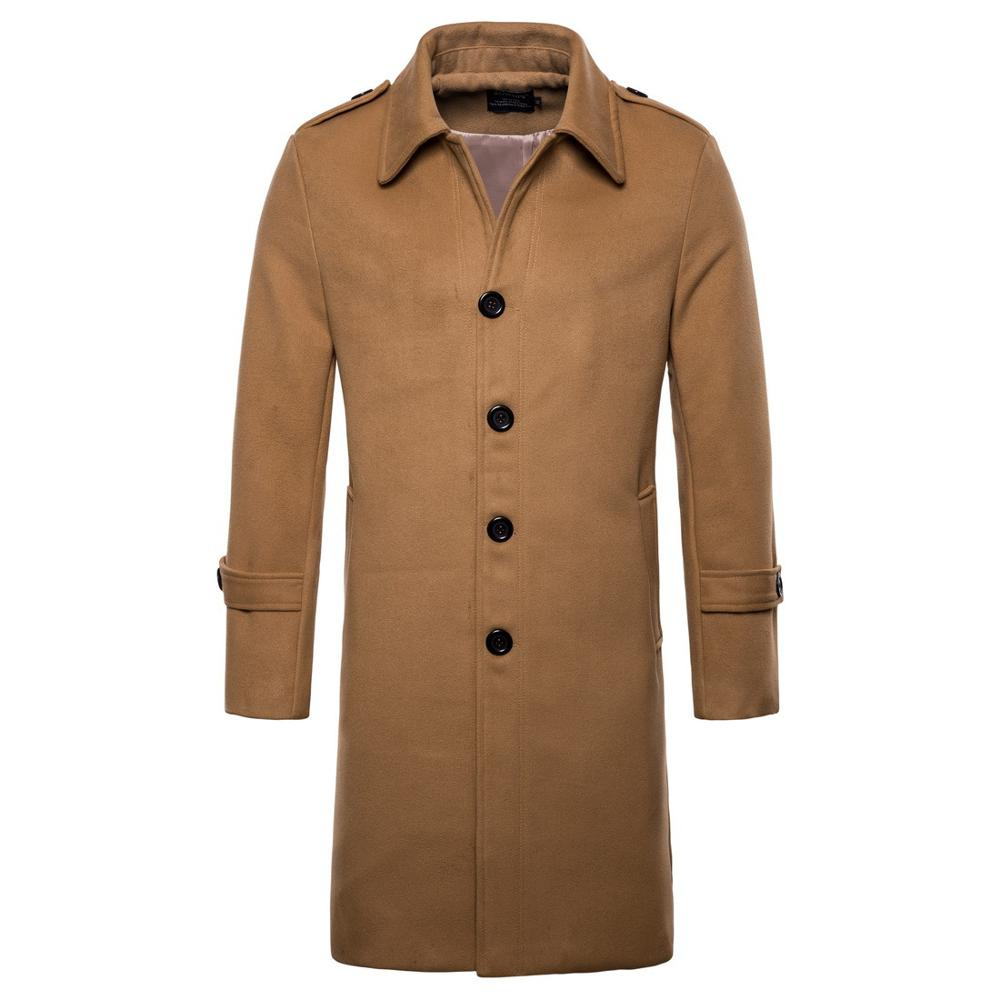 NEw 2019 autumn winter Casual High-end men's coat wool long single-breasted trench coat men long coat men woolen coat