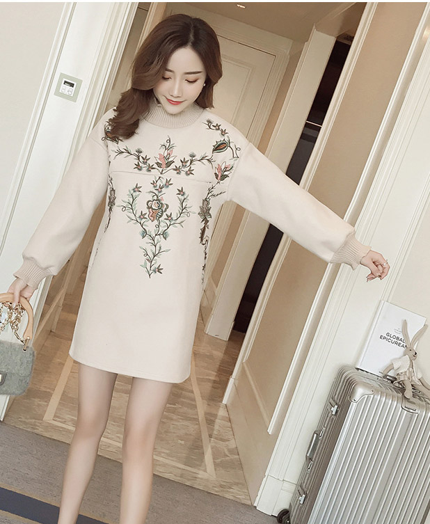 Embroidery Maternity dress spring long sleeve casual flowers autumn clothing pregnant women wearing  1LDDS-56R [Eleven Story]<br>