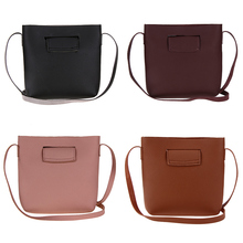 Woman PU Leather Mini Retro bag Simple Pattern Vintage Mini Barrel Bag Shoulder Bag(China)