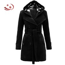 Stylish Women's feminine coat Hooded Slim Double-breasted Long Sleeve Worsted Winter&Autumn Woman Overcoat Casual Windbreaker