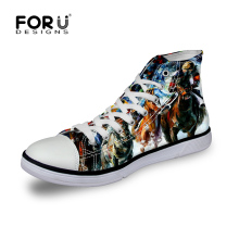 FORUDESIGNS Crazy Horse Customized Canvas Shoes for Women,Woman Casual Shoes 2017 Owl Female Ladies Walking Shoes tenis feminino