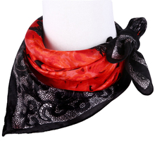[LESIDA] Black Small Silk Square Scarves Female Chinese Rose Print Scarf  Neck Warmer Satin Headband Scarf Head Bandana XF1010